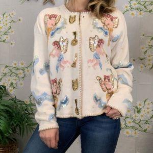 Vintage sequined beaded cherub grandma sweater